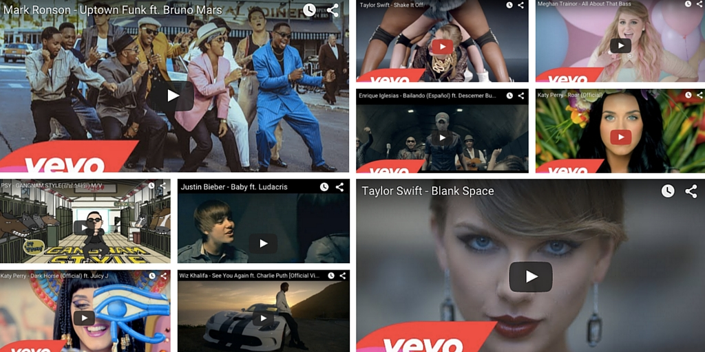 The Ten Music Videos on Youtube with more than 1 Billion Views